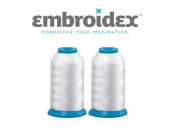 Set of 2 Huge White Spools Bobbin Thread for Embroidery Machine and Sewing Machine - 5500 Yards Each - Polyester -Embroidex