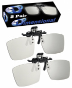 ED 2 Pack CINEMA Clip-On 3D GLASSES For LG 3D TVs - Adult Sized Passive Circular Polarised 3D Glasses