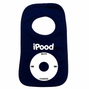 I POOD PULLOVER BABY BIBS - Doubled Layered - (Navy Blue) - 100% Cotton Baby pod ipood apple geek Toddler Perfect Gear Clothing Boy Girl Mum Dad Mummy Daddy Grow Gift Custom Present Birthday Christening play toy Cute - Machine Washable- by Fonfella