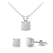 White Lab Opal Sterling Silver Necklace & Earrings Set