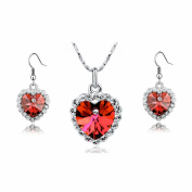 KATGI Fashion Heart of the Ocean Austrian Crystal Necklace and Earrings