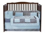 Baby Doll Croco Minky Crib Set, Blue/Grey