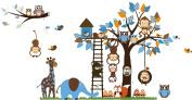 Jungle Zoo Meeting on a Tree Owl, Monkey Wall Decal for Kids, Nursery Room