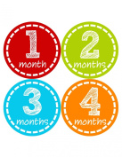 Months in Motion 289 Monthly Baby Stickers - Baby Boy - Months 1-12 - Milestone Sticker Photo Prop