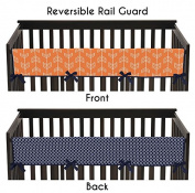 Baby Crib Long Rail Guard Cover for Orange and Navy Arrow Print Bedding Collection