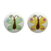 Set of 2 38mm Colourful Butterfly Ceramic Cabinet Knob Drawer Knob