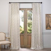 . Drapes PRCT-D07-108 Martinique Taupe Printed Cotton Curtain, Beige
