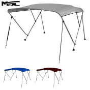 MSC® 3 Bow Bimini Boat Top Cover with Rear Support Pole and Storage Boot, Colour Grey,Pacific Blue,Burgundy,Navy,Beige,Forest Green,White,Black,Seal available