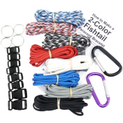 Paracord Survival Bracelet & Project Kit. 550 Parachute Cord, Buckles, Carabiners, Key Rings, Written Instructions & eBook. Made in US.