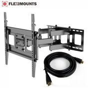FLEXIMOUNTS A11 Full motion Swivel Tilt and Rotate TV wall mount fits for most of 80cm - 130cm Samsung/Coby/TCL/Haier/Hisense/LG/VIZIO/Sharp/Sony/Toshiba/Seiki LCD LED tvs with free 1.8m HDMI cable