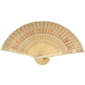 4U-Lucky Chinese Wooden Printing Openwork Carved Hand Folding Fan