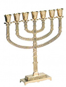 Hand Crafted Sqare Base 7 Branch Menorah By Israel Giftware Design