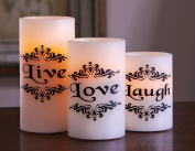 Led Live Love Laugh Candles - Set Of 3