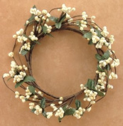 Ivory Pip Berry Ring Mini Wreath Green Silk Leaves Country Primitive Floral Décor