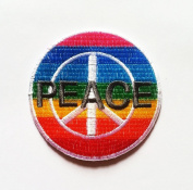 Peace Sign Embroidered Patch Anti-War Hippie Iron-On Symbol