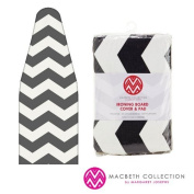 The Macbeth Collection Ironing Pad and Cover - Frequent Use - 38cm x 140cm - Chevron Graphite