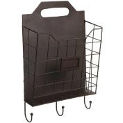 Vintage Wall Mounted Rustic Metal Wire Magazine Storage / Organiser Basket Rack w/ Coat Hooks - MyGift®