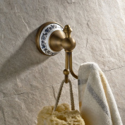 Wall Mounted Coat and Hat Hanger Antique Brass Finish Bath Towel Hanger Clothes and Robe Hook Bathroom Shower Double Hooks