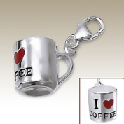 I Love Coffee Charm with Lobster Clasp, Sterling Silver 925, for Charms Bracelet, Necklace