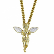 Angel Cherub Micro Pendant Stardust Wings 14K Gold Plated 80cm Long Cuban Hip Hop Chain