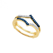 10K Yellow Gold Round Cut Blue and White Solitaire Engagement Ring Enhancer .20 Cttw