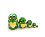 MINI Frog w/Ladybug nesting dolls Russian Hand Carved Hand Painted 5 piece Set