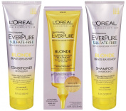 L'Oreal EverPure Brass Banisher System, Blonde, Shampoo & Conditioner, 250ml Each + Shade Reviving Treatment 120ml