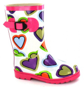 Junior and Infant Girls Funky Coloured Heart Wellingtons