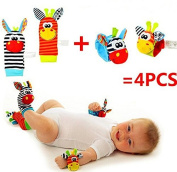 VALUE MAKERS Baby Rattle Toys - Cute Animal Infant 4pcs(2pcs Waist and 2pcs Socks) Soft Wrist Bell Strap Rattles and Foot Socks Finder Set Developmental Soft Toys for Kids