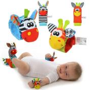 YISET Infant Baby Soft Toy Wrist Rattles Socks Developmental Sozzy-hot 4pcs