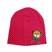 BuyHere Unisex Baby Bear Labelling Hats,Rose Red