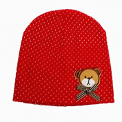BuyHere Unisex Baby Bear Labelling Hats,Red