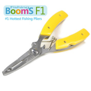 Booms Fishing F1 Stainless Steel Fishing Pliers Resistant Saltwater 5-in-1 Multi Function Cut Braid Line and Remove Hooks Black Yellow and Blue