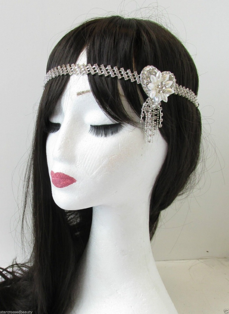 Ivory Cream Silver Pearl Peacock Feather Hair Comb Fascinator 1920s Bridal A92 Bridal Accessories Hair Accessories