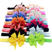 YiZYiF 20pcs Babys Girls Grosgrain Ribbon Elastic Headband Hairband Photography Headdress