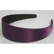 "Annielov 40mm (1 1/2"") Plastic headband covered with Satin Silk fabric Wide Headbands Hair accessories Alice band - Purple"