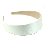 "Annielov 40mm (1 1/2"") Plastic headband covered with Satin Silk fabric Wide Headbands Hair accessories Alice band - Ivory"