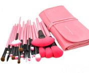 KanCai® 24 Pcs Professional Makeup Brushes Set Wooden handle Synthetic Cosmetic Brush Kit with Leather Case