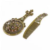 Lady Retro Style Rhinestone Inlaid Cosmetic Mirror Comb Bronze Tone