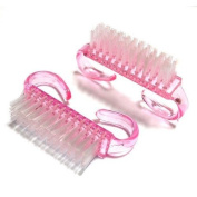 Hrhyme 2Pcs Pink Nail Art Dust Clean Cleaning Brush Manicure Pedicure Tool