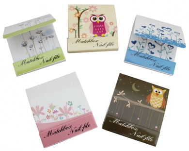 Floral Owl Mini Matchbox Emery Boards Nail Files Set ~ Design Vary