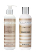 For All My Eternity Tan & Tone Firming Self Tan Lotion and Tan Saving Shower Gel to extend your fake tan - Firming and toning self tanning moisturiser creme cream with pH balanced natural tan saving shower gel. Fragrance free tanner with certified orga ..
