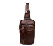 YAAGLE Men 's Casual Genuine Cowhide Leather Single Shoulder Cross-body Bosom Chest Sling Bag Mini Tablet iPad Case Chocolate Brown Dark Grey
