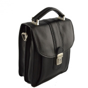 Man Leather Bag Black - Genuine Leather Bags Made In Italy - Man Bag