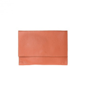 Clutch bag made in Italy in leather with strap and flap DUDU Orange