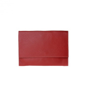 Clutch bag made in Italy in leather with strap and flap DUDU Red