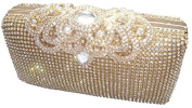 Unique Clasp Gold Diamante Crystal Diamond Evening bag Clutch Purse Party Bridal Prom