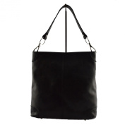 Woman Shoulder Leather Bag Black - Genuine Leather Bags Made In Italy - Woman Bag