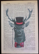 VINTAGE STAG DEER PRINT Pink Tartan Original Dictionary Page Wall Art Picture