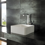 Clickbasin Java Pure White Solid Surface 40cm X 40cm Square Counter Mounted Basin